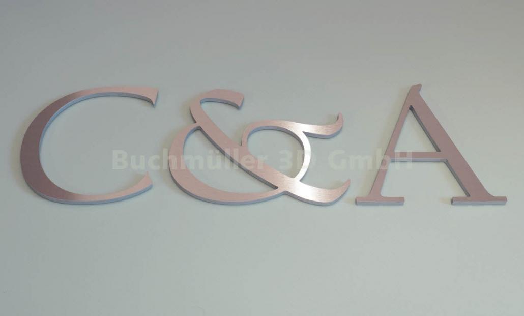 3D Buchstaben aus Metall, Logo aus Edelstahl auf Acrylglas