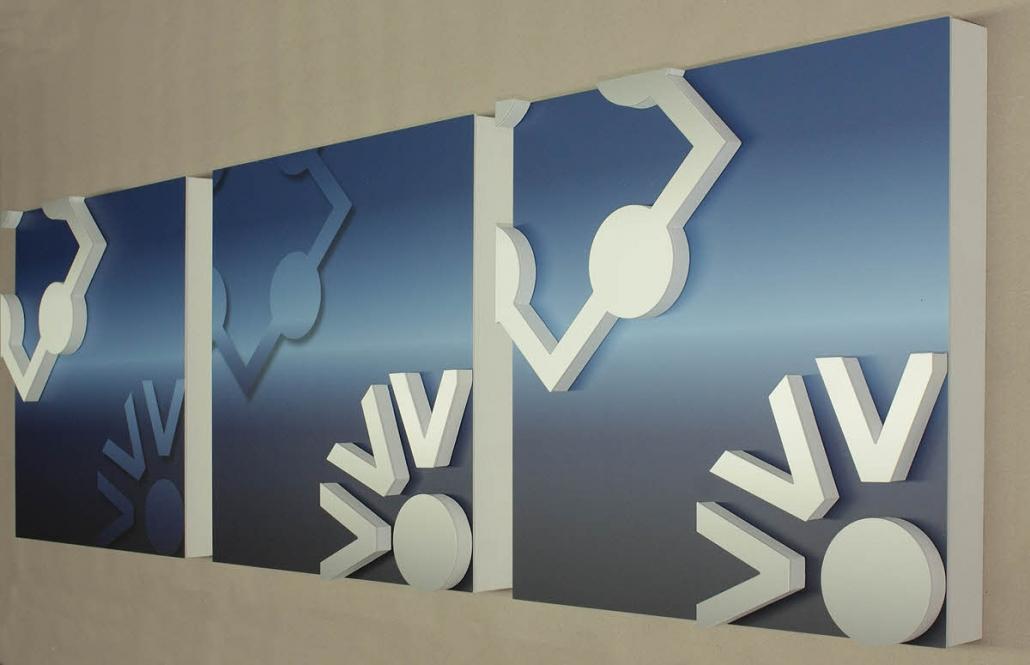 3D Pictogramme, als Sandwich aus 60 mm XPS Schaum mit bedruckter Acrylglasabdeckung