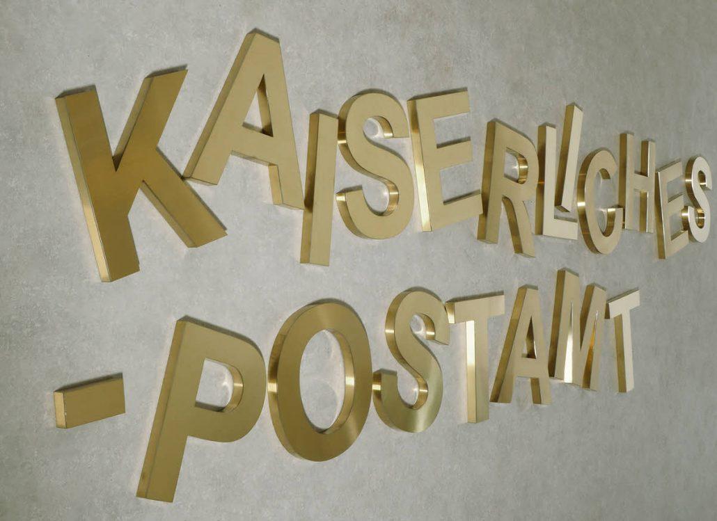 3D Profilbuchstaben Profil 01, aus Edelstahl in Titan Gold