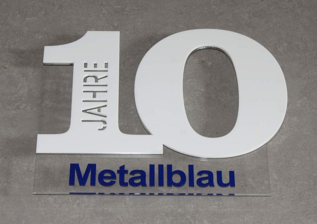 Firmenschilder mit 3D Beschriftung, 3D Schild Acrylglas, Jubiläumsschild