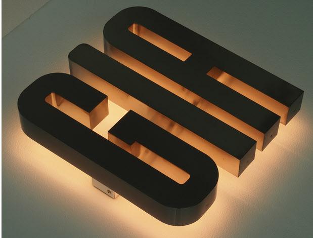 3D LED Buchstaben, Profil 3 Edelstahl, Rückleuchter, LED Gelb