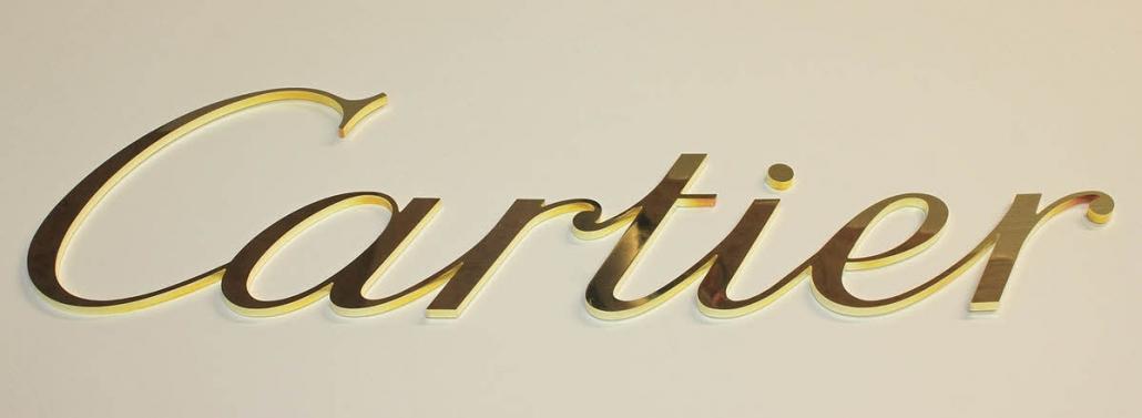 Schriftzug aus 2 mm poliertem Messing