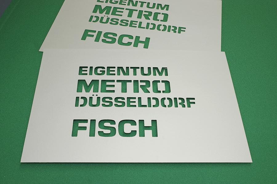 Sprühschablone, Stencil, aus Aluminium