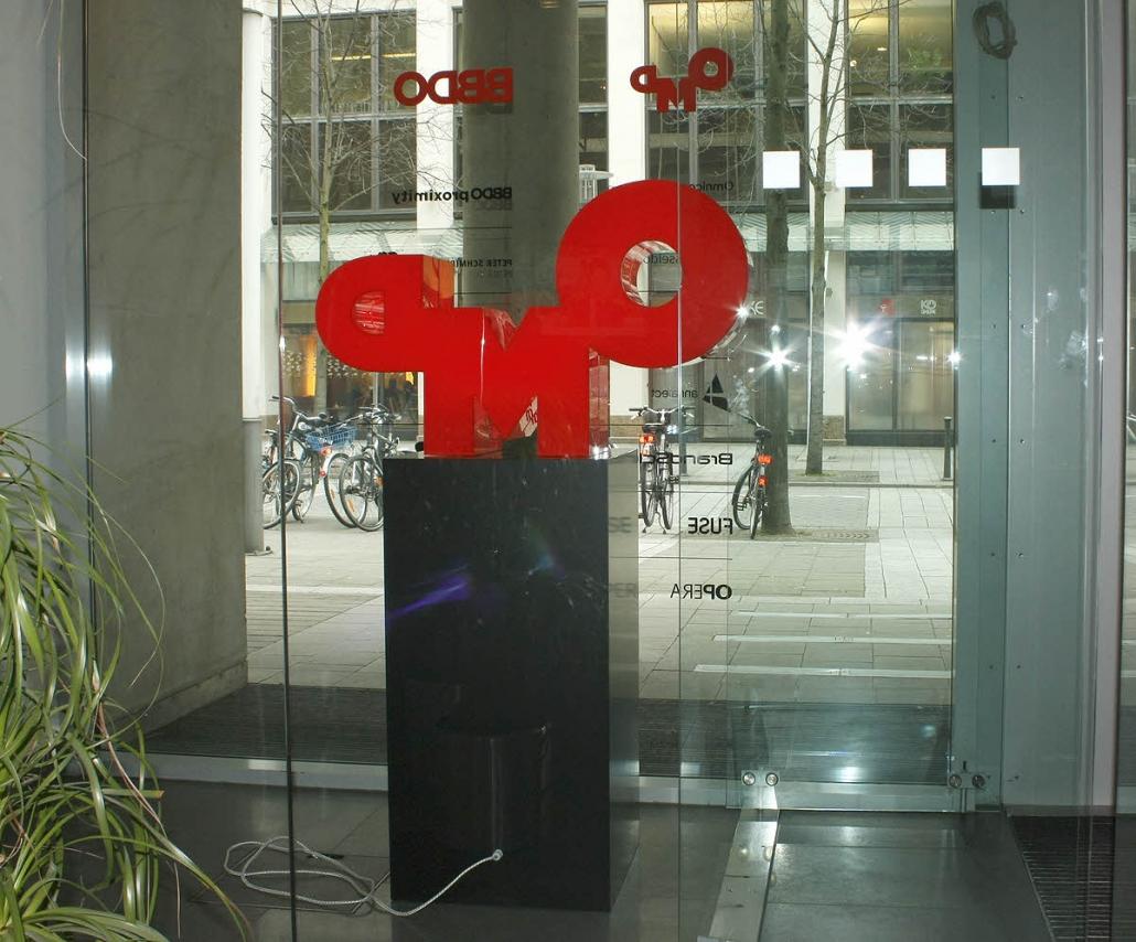 3D Logo als LED Leuchtobjekt auf Säule, Profilbuchstaben, Profil 8