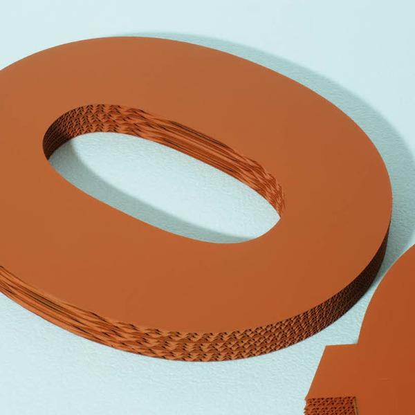 3D Wellpappe Buchstaben, farbig lackiert